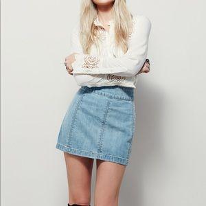 Free People Zip To It Denim Skirt